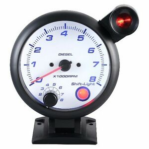 95 Mm 3 3 4 Inches Tachometer Gauge 0 8000 Rpm Outside Shift Light For Diesel