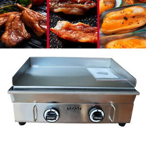 Countertop Gas Griddle Flat Hot Plate Grill Portable 2 Burner Camp Barbecues Us