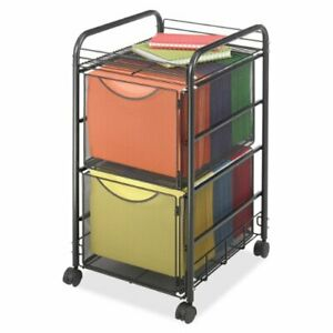 Safco Onyx Double Mesh Mobile File Cart 2 Shelf 2 Drawer 4 X 1 50 Caster