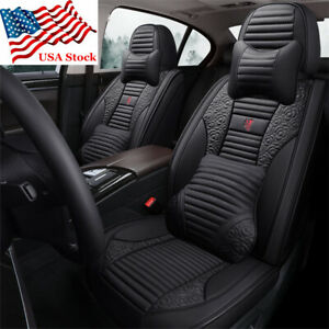Deluxe Black Pu Leather Car Seat Cover Pad Full Set Floral Striped Universal