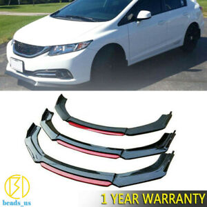 Glossy Black Front Bumper Lip Splitter For 2013 2015 9th Honda Civic Sedan Si