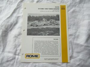 Rome R89h Towed Scraper Specification Sheet Brochure 18 Cubic Yards