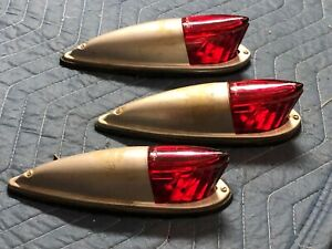 Rare Set Nos 3 Peerless Vintage Marker Tail Light Fender Truck Cab Clearance Red