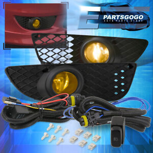 For 08 15 Mitsubishi Lancer Yellow Fog Driving Lights Pair Wiring Harness Kit