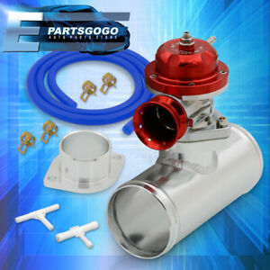 Universal Red Type Rs Style Turbo Blow Off Valve 2 Bolt W Adapter Pipe Set
