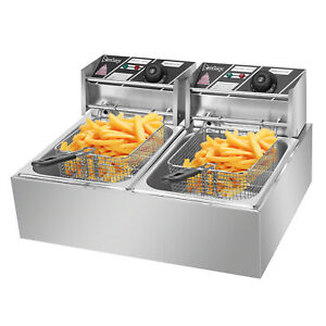 5000w 12l Stainless Steel Double Cylinder Electric Fryer Dual Tank Deep Fryer