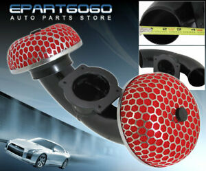 For 90 96 300zx Z32 Twin Turbo Dual Air Black Intake Short Ram Red Filter
