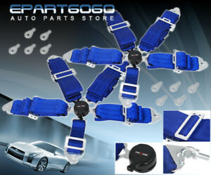 Pair Of 3 Blue Nylon 5 Point Pt Racing Seat Belts Quick Snap On Latch Camlock