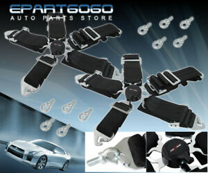 3 Nylon Pair 5point Camlock Harness Black Racing Seat Belts For Eclipse
