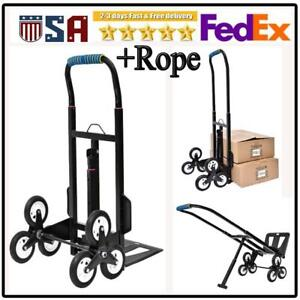 440lb Stair Climbing Climber Hand Truck Dolly Cart Trolley W 6 Wheels Rope Us