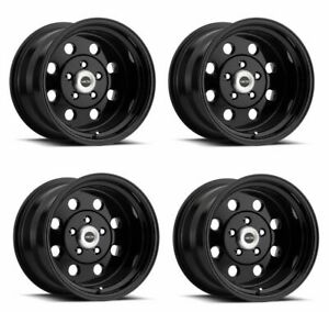 Set 4 15x10 Vision American Muscle Street Lite Black 5x4 5 Wheels 0mm W Lugs