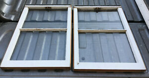 Wood Frame Window 2 Pane 27 X 19 Vintage Wooden Sash Picture Glass