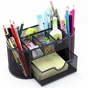 Desk Supplies Organizer Multi functional Stationery Caddy Mesh Oval Pencil Hold