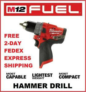 Milwaukee M12 Fuel Brushless Cordless 1 2 In Hammer Drill 2504 20 Bare Tool