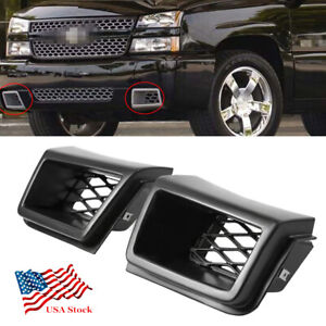 2pcs Front Bumper Air Vent Duct Grille Insert For Chevy Silverado 1500 2003 2007