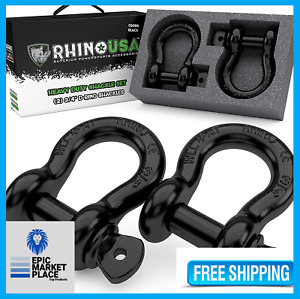 Rhino Usa D Ring Shackle Tow Strap Winch Off Jeep Truck Vehicle Recovery 2 Pack
