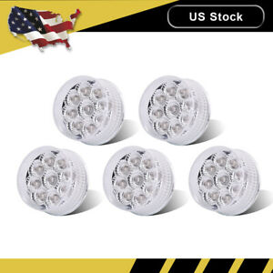 5pcs 2 Inch 9 Led Clear Lens Red Round Side Marker Trailer Truck Rv Light