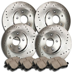 A0851 1994 1995 1996 1997 Mustang Cobra Mach Cross Drilled Brake Rotors Pads F r