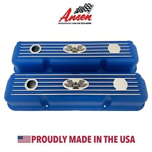 Ford Fe 390 American Eagle Finned Short Valve Covers Blue Ansen Usa