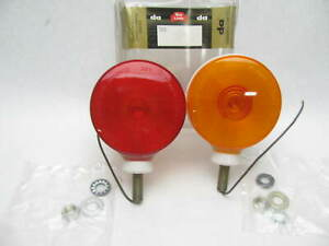 2 Vintage Dominion 60 6139 Double Faced Red amber Pedestal Turn Signal Light