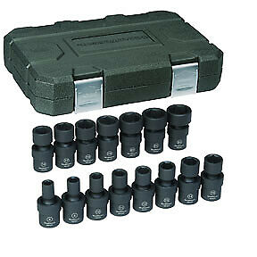 15 Pc 3 8 Drive 6 Point Metric Universal Impact Socket Set Kdt 84918n