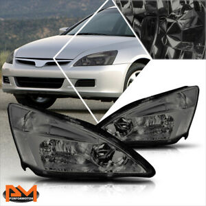 For 03 07 Honda Accord Jdm Smoked Housing Headlight Clear Side Corner Lamps Pair