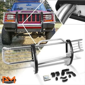 For 84 01 Jeep Cherokee Xj Suv Stainless Steel Bumper Brush Grille Guard Chrome