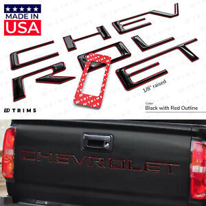 Black W Red Outline Raised Domed Tailgate Letters For Chevrolet Colorado 2021