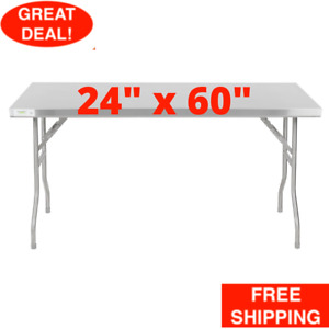 24 X 60 Commercial Stainless Steel Folding Work Prep Tables Open Kitchen Nsf