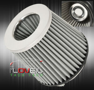 Universal 4 Aluminum Stainelss Mesh Cold Short Ram Air Intake Filter Silver