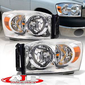 Chrome Amber Head Lights Lamps Assembly Left right For 2006 2008 Ram 1500 2500