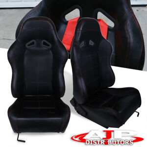 Pair Pvc Leather Red Stitching Racing Seat With Sliders Black Del Sol Civic Crx