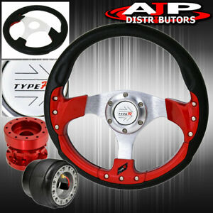 For 90 93 Integra Type R Pvc Red Fusion Style Steering Wheel Red Hub Extender