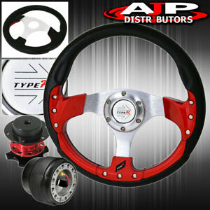 For 94 01 Integra 320mm Type R Red Fusion Style Steering Wheel Quick Release