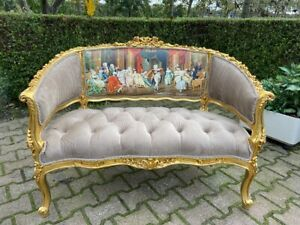 French Louis Xvi Style Sofa Settee Couch In Velvet Tan With Scenery