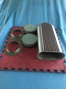 Me Gasket Polished Aluminum Dual Carb Scoop W Air Filters