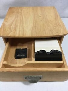 Rolodex In A Drawer Wooden Office Desk Organizer Wood Table Top File Box Punch