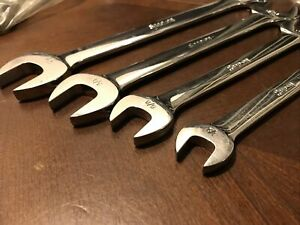Snap On Tools 4 Pc Sae Standard Open End Wrench Set Usa Flank Drive 1 2 5 16