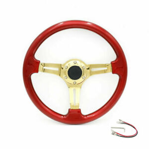350mm 14 Universal Deep Dish Abs Racing Steering Wheel With Gold Spoke