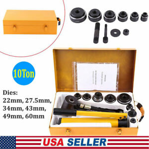 10 Ton Hydraulic Knockout Punch Hand Pump Hole Tool Driver Kit 6 Dies case