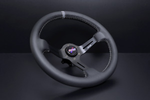 Dnd Leather Race Steering Wheel 350mm 75mm Deep Black With Gray Stitching New