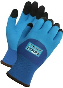 Frost Buster Thermo Blue Latex Winter Waterproof Gloves 3 4 Coated Insulated