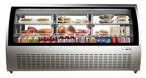 Deli Case New 82 Curved Glass Refrigerator Display Bakery Pastry Meat Case