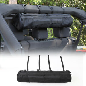 1x Black Multifunction Roll Bar Hardtop Storage Bag Organizer For Jeep Wrangler