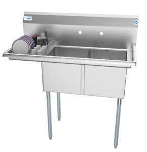 2 Compartment Nsf Stainless Steel Commercial Kitchen Prep Sink Left Drainboard