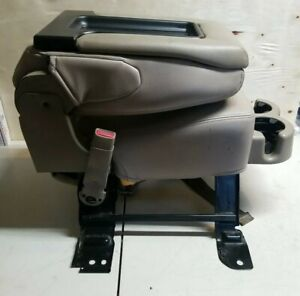 2001 07 Gmc Yukon Silverado Tahoe Front Center Jump Seat Taupe Gray Leather Oem