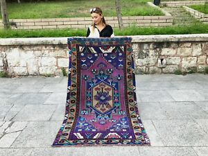 Vintage Turkish Oushak Rug With Tribal Medallion Style Distressed Low Pile Rug