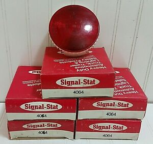 Vintage Signal stat 4064 Round Red Stop Tail Turn Light X5 Nos 5x Lot