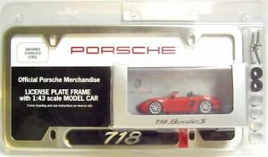 Stainless License Plate Frame W 1 43 Minichamps 2016 Porsche 718 Boxster S 982