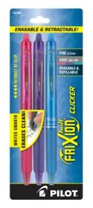 New Pilot Frixion Clicker Erasable Gel Pens Fine 0 7mm 3 Pk Black Blue Red